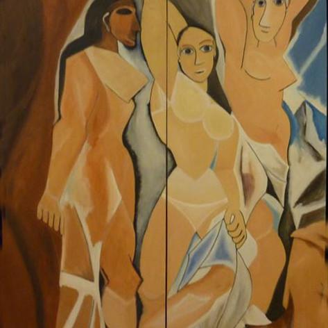 Vervalsing (Detail) van De moiselles d'Agvion van Pablo Picasso