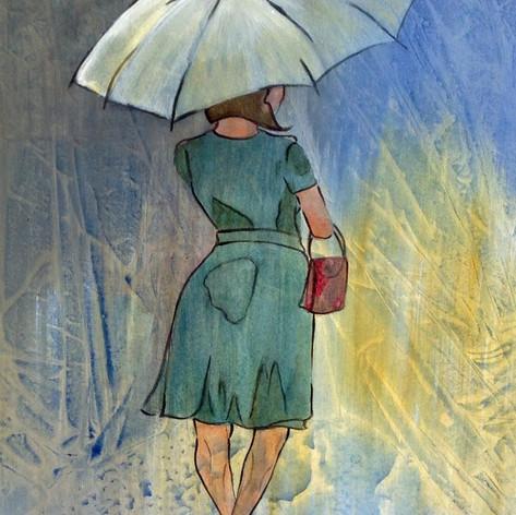 Dame met paraplue