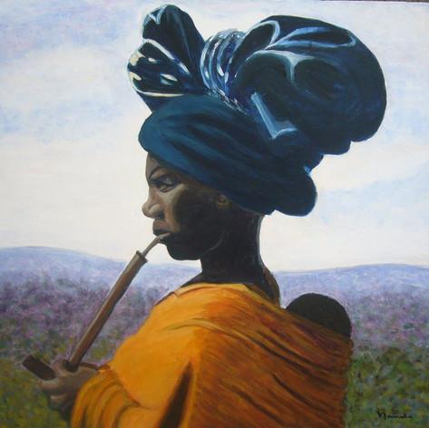 Afrikaanse vrouw met pijp