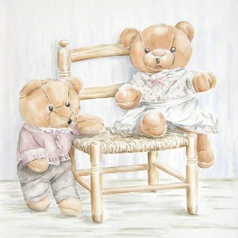 Berenpoppen op stoel