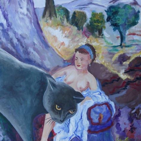Kat en dame in landschap