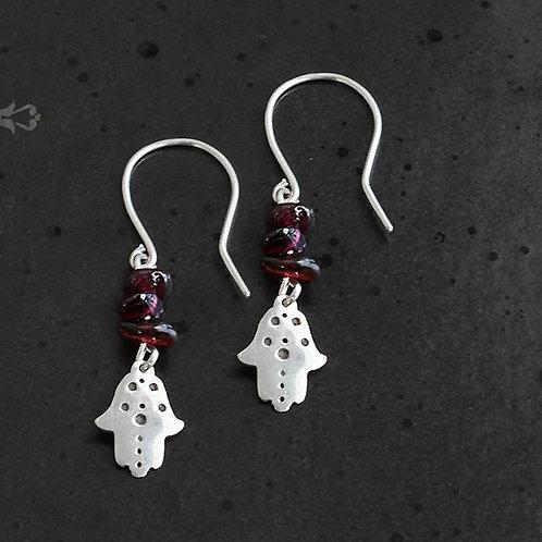 Mini Hamsa Earrings with Gemstones