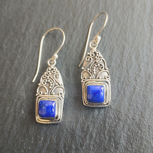 Square Lapis Lazuli Earrings