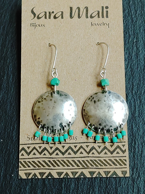 Hammered Silver & Turquoise Earrings