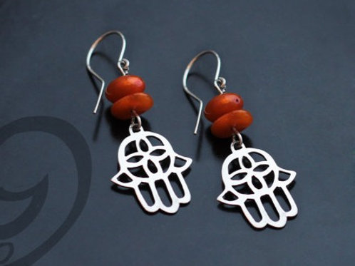 Hamsa Earrings with Gemstone