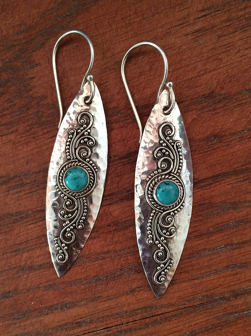 Hammered Silver and Turquoise Earrings