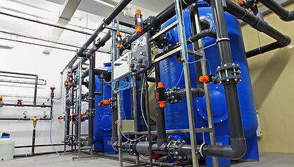 Swimming pool filtration system at basem