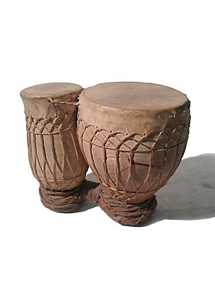 Moroccan Clay Bongos with Goat Skin Heads