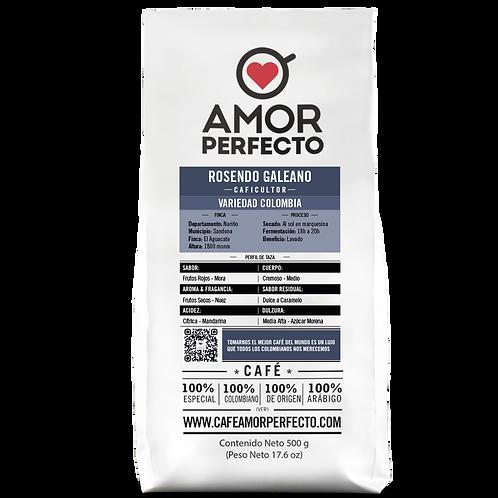 Café de autor en grano Amor Perfecto 500 gr Rosendo Galeano