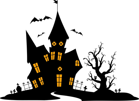 Halloween Haunted House Silhouette Clipart Svg_03.png