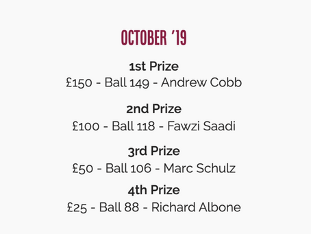 100 CLUB: October Results