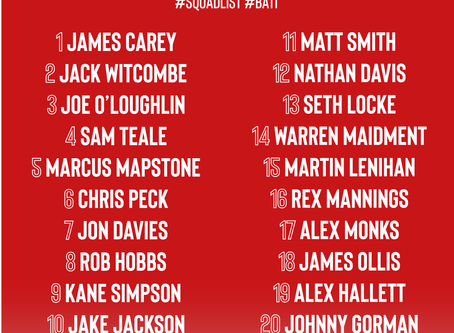 Squad numbers updated