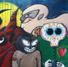 El Santo, el cavernario, el diablo, y...