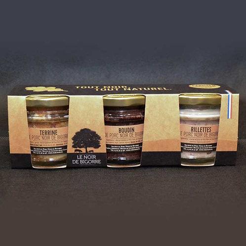 Verrines  Noir de Bigorre : Terrine, Boudin, Rillettes PADOUEN