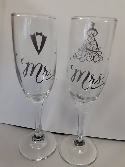 Mr & Mrs Toasting Flutes Silver