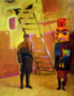 best cat friends ever oil painting native totem bird digital 8-bit oil painting