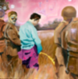 soldiers urinating warpaintig abstract ikea clandestine oprations oil painting