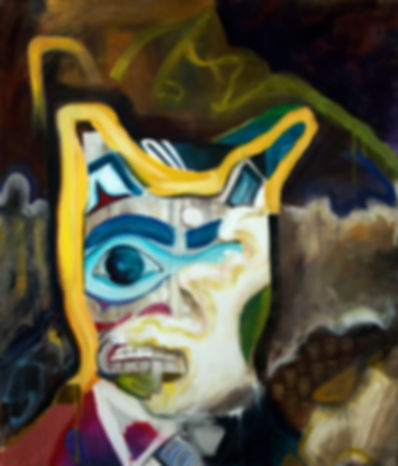 totem ple pining oil alaska mask abstract