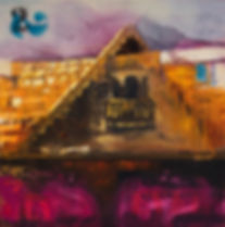 expressionistpinting cottage burning bush pallette knife impasto german oil painting