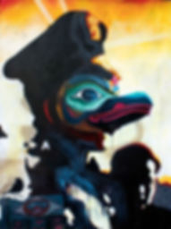 totem pole bird our fearless benevolend leader communist propaganda north korean chinese oilpaintng