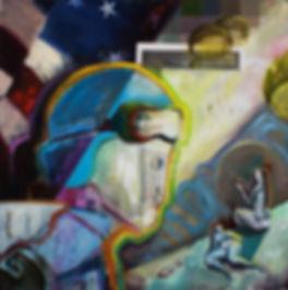 american flad stars stripes obot parachuts airborne woen drunk bikini oil aintin digital 8-bit contemporary art