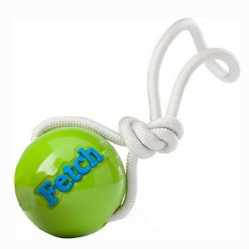 Planet Dog Fetch Ball W/ Rope Green