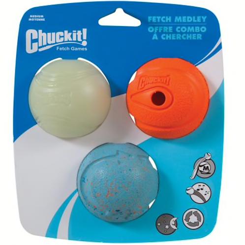 Chuck It! Fetch Medley Asstd Med 3Pk