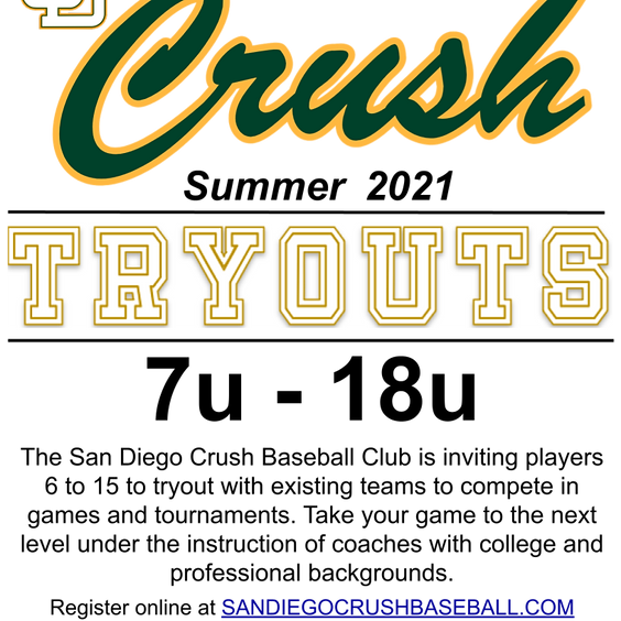 Crush Baseball Summer 2021 Tryouts