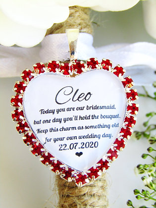 Bridesmaid Quote 'Something Old' Bouquet Charm Red Diamantés