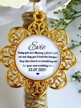 Mummy's Flower Girl Quote 'Hold the Bouquet' Bouquet Charm Gold Flower S