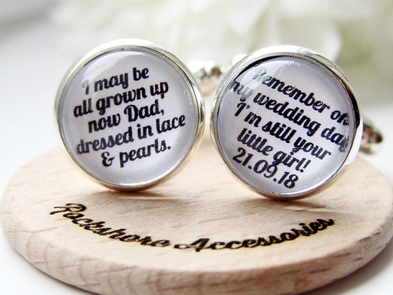 Father Of The Bride Still Your Little Girl Quote Cufflinks In Rose Gold / Silver
