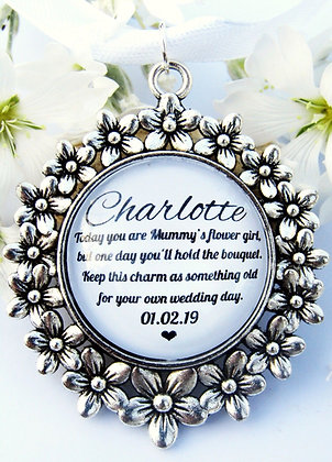 Mummys Flower Girl Bouquet Charm Flower Surround