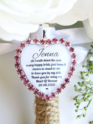 Maid Of Honour Quote 'Thank you' Bouquet Charm in Pink Diamantes