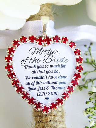 Mother Of The Bride Quote 'Thank You' Bouquet Charm Red Diamantés