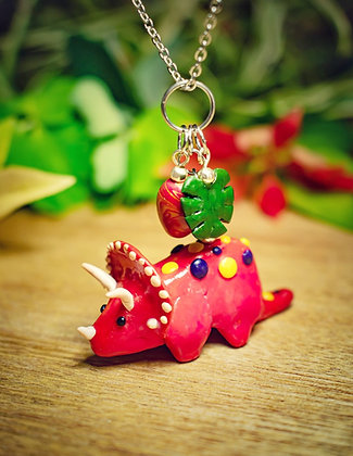 Triceratops necklace with egg & leaf charms