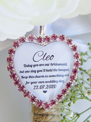 Bridesmaid Quote 'Something Old' Bouquet Charm Pink Diamantés