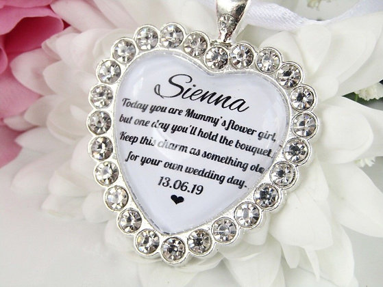 Mummy's Flower Girl Bouquet Charm Sparkling Diamantés