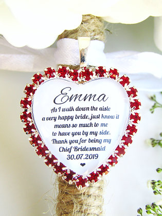 Chief Bridesmaid Quote 'Thank you' Bouquet Charm in Red Diamantes