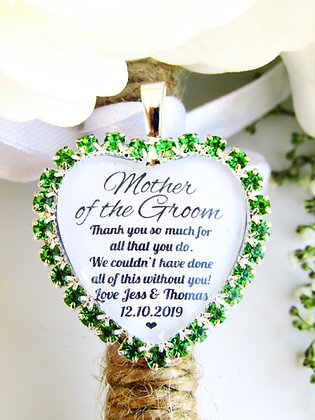 Mother Of The Groom Quote 'Thank You' Bouquet Charm Green Diamantés
