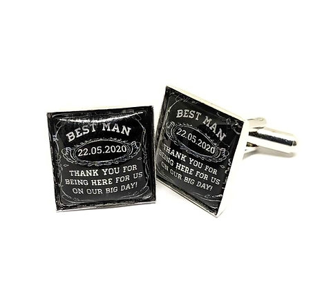 Best Man Cufflinks Black Square Design