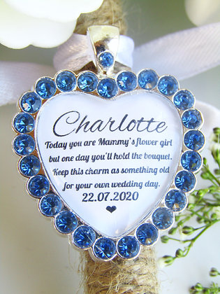Mammy's Flower Girl Quote 'Something Old' Bouquet Charm Blue Diamantés