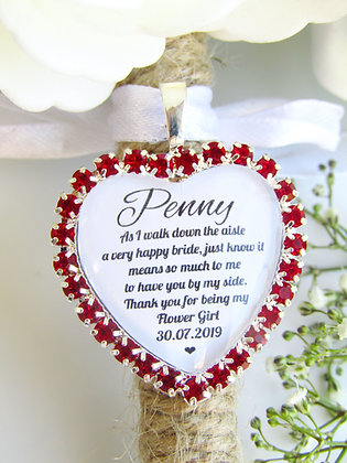 Flower Girl Quote 'Thank you' Bouquet Charm in Red Diamantes