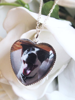 Heart Shaped Photo Pendant Necklace