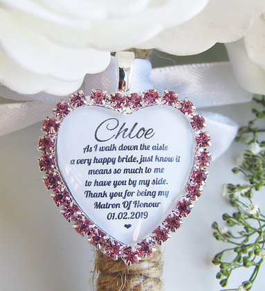 Matron Of Honour Quote 'Thank you' Bouquet Charm in Pink Diamantes