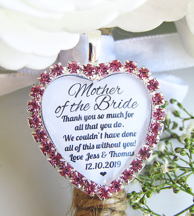 Mother Of The Bride Quote 'Thank You' Bouquet Charm Pink Diamantés