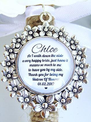 Matron Of Honour 'Happy Bride' Quote Bouquet Charm Flower Surround