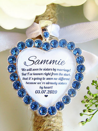 Sister In Law Quote 'Sisters By Heart' Bouquet Charm Blue Diamantés
