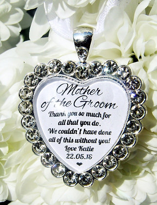 Mother Of The Groom 'Thank You' Bouquet Charm Diamanté