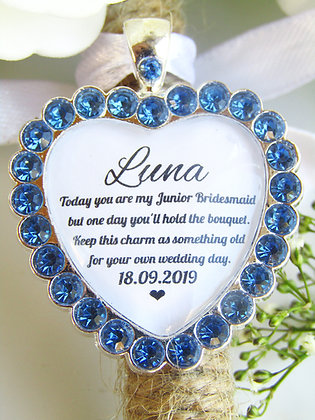 Junior Bridesmaid Quote 'Something Old' Bouquet Charm Blue Diamantés