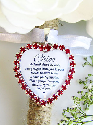 Matron Of Honour Quote 'Thank you' Bouquet Charm in Red Diamantes